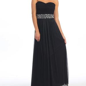 Royal Bue Strapless Jewels Dress Chiffon Prom NWT